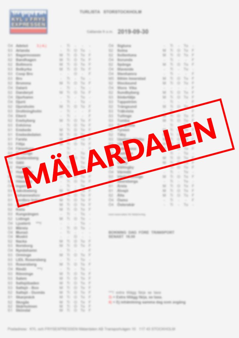 Kyl & Frysexpressen Mälardalen AB - Turlista Mälardalen